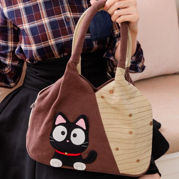 小黑貓 三排隔層 拼布包手提/肩背包【810012】
