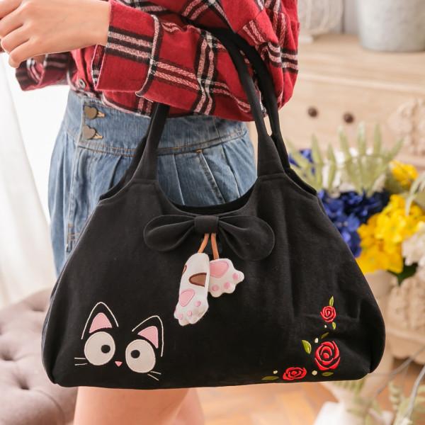 小黑貓 玫瑰三排格層 休閒手提/肩背包【810020】