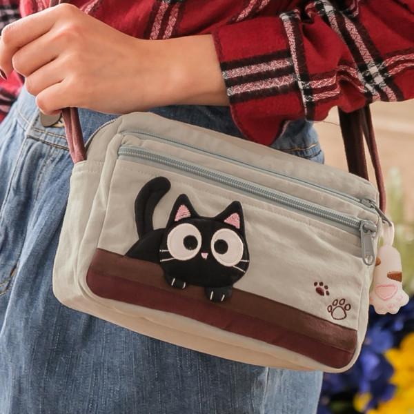 小黑貓休閒 外出 拼布包 小斜背包/側背包【810021】