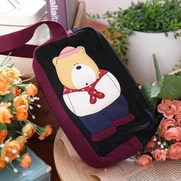 呆呆熊雙層多功能收納/筆袋/手機包/化妝包【820021】