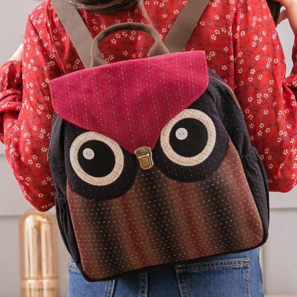 貓頭鷹 先染布 雙肩 大容量手提/旅行後背/兩用包【270048】
