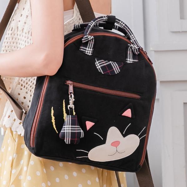 賓士貓 造型 拼布包 手提/旅行後背/兩用包【211397】