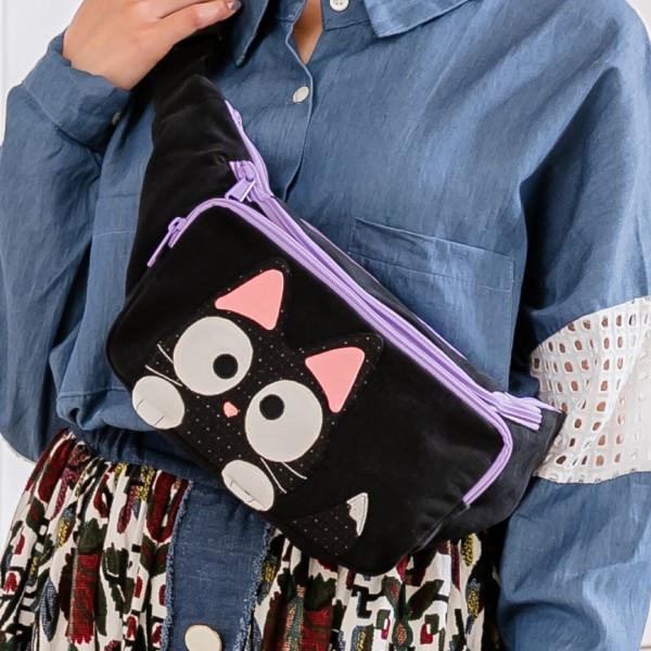 小黑貓 拼布包 單肩斜後背/防盜胸包/腰包【211386】
