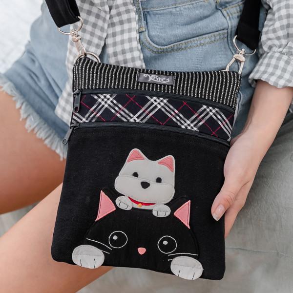 高地白梗 狗狗與小黑貓 三層 拼布包 斜背包/側背包【211401】