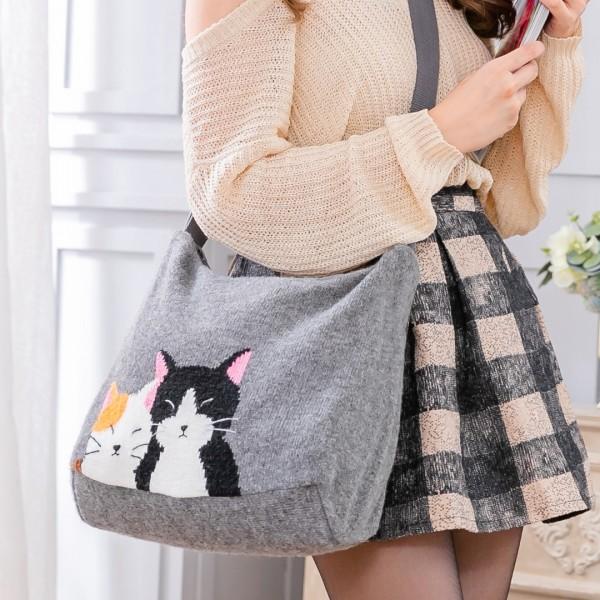 好友貓 羊毛線 手提/斜背包/兩用包/針織包【260072】