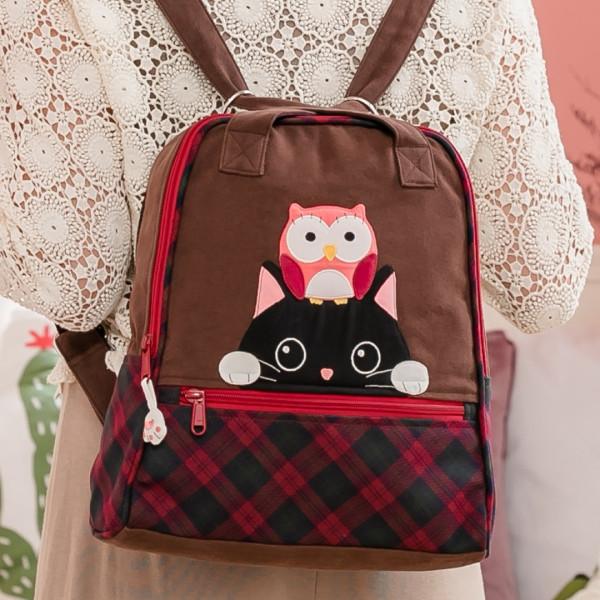 小黑貓與貓頭鷹 格紋拼布包/肩背/後背包/兩用包【211379】