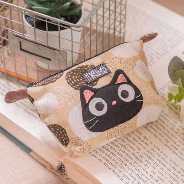 小黑貓 造型 花布 拉鍊 耳機收納袋/零錢包【222897】