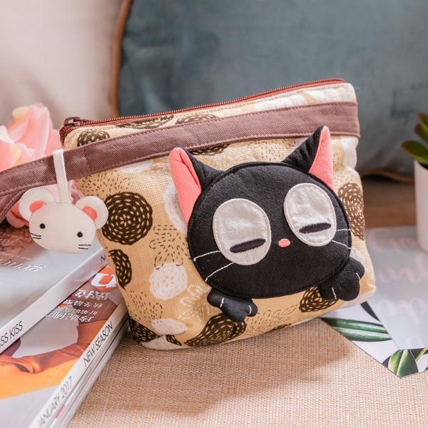 小黑貓 花布 拉鍊 收納包/手拿包/化妝包【222908】