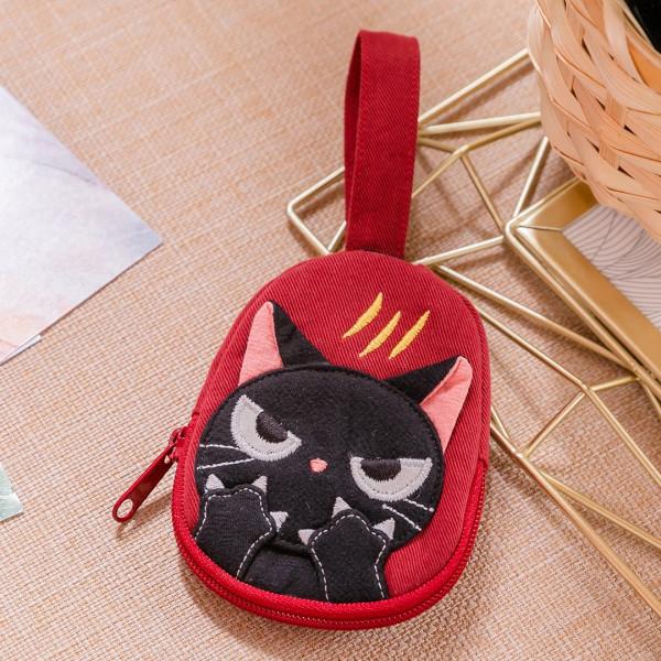 小黑貓 抓痕造型 拉鍊 小物收納/鑰匙零錢包【222916】
