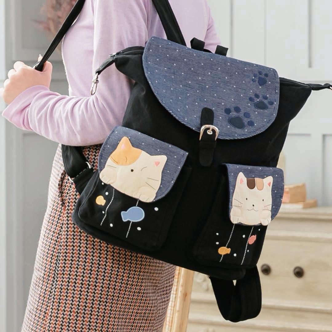 Kiro貓 大容量 鋪棉 翻蓋 手提/旅行後背包【211394】