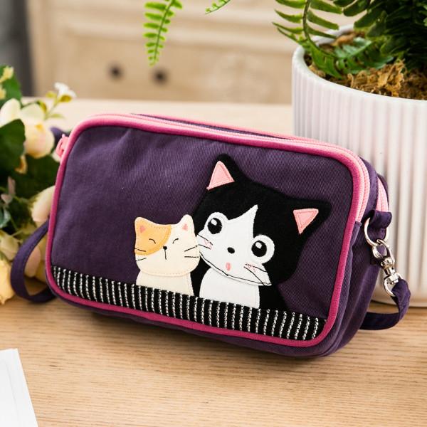 賓士貓 雙層拉鍊 手提化妝包/手機收納包/小斜背包【222906】