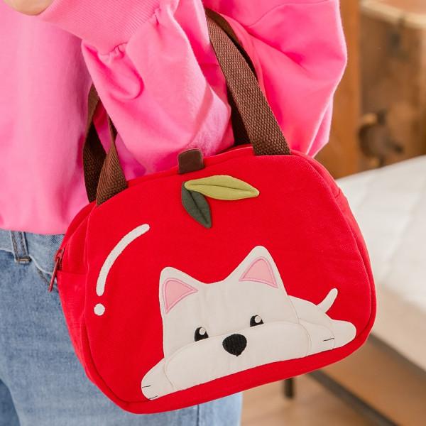 高地白梗 狗狗 蘋果造型 拼布包手提包/野餐便當袋【810057】