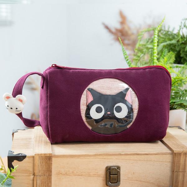 小黑貓 泡泡造型 拉鍊 收納包/化妝包/3C雜物包【222925】