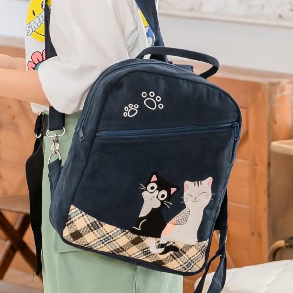 賓士貓與白貓 大容量 手提/斜背/雙肩旅行/後背包【810070】