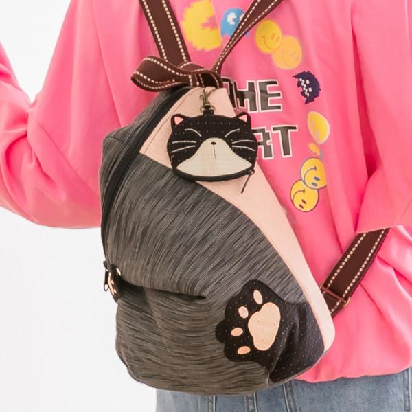 賓士貓 先染布 拼布包/手提/旅行/後背兩用包【270066】
