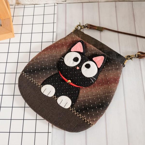 小黑貓 先染布 彈片口金 拼布小斜背/手機包【270074】