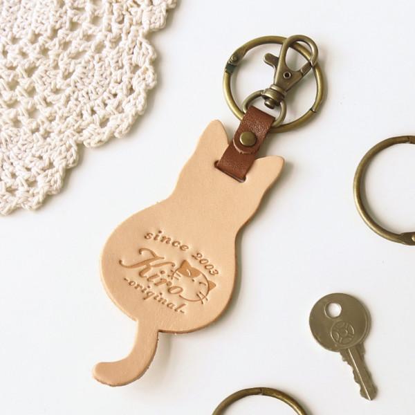 Kiro貓 原胚色 貓咪造型 手工皮革 包包吊飾/鑰匙圈【280006】