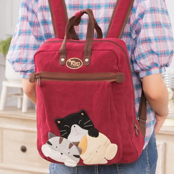 貓咪家族 大容量 手提/雙肩旅行後背包【211335】