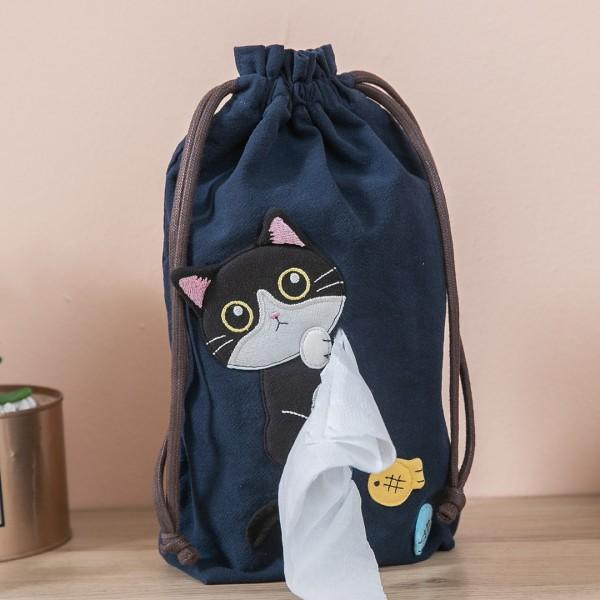 賓士貓 束口抽繩 面紙套/抽取式衛生紙套【830010】
