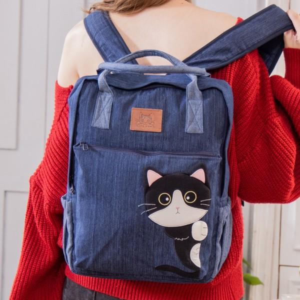 賓士貓 單寧牛仔 大容量 手提/雙肩旅行後背包【810083】