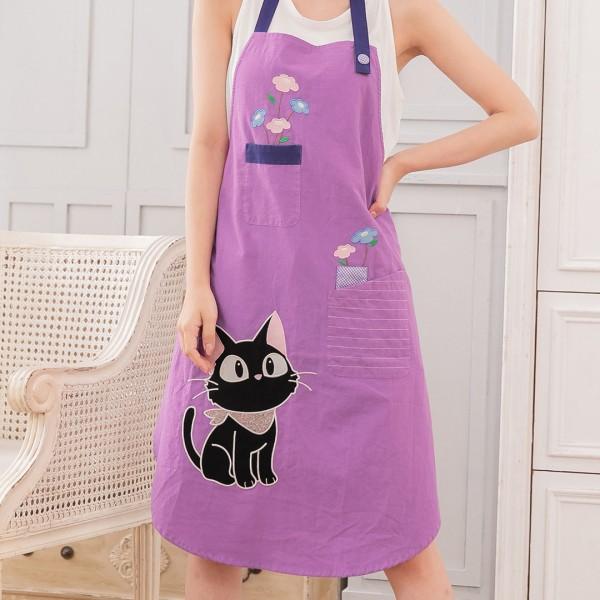 小黑貓 花朵刺繡 防油煙 居家圍裙/廚房工作服【830013】