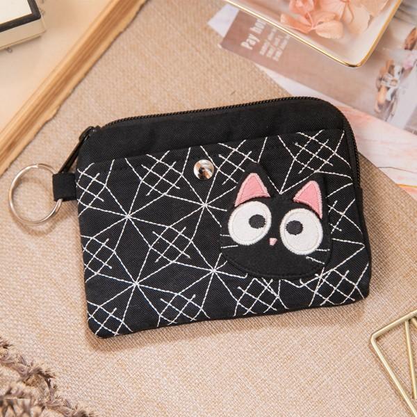 小黑貓 刺繡 拉鍊 卡片收納袋/零錢包【222951】