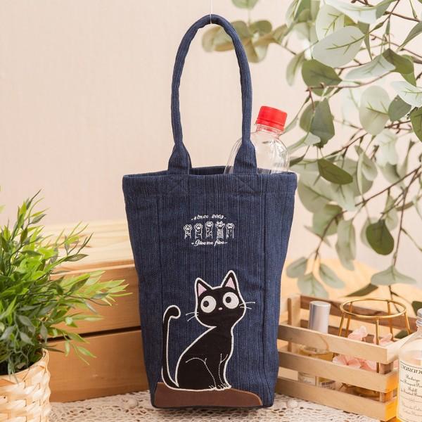 小黑貓 單寧牛仔 大容量 拼布 手提/水壺袋/飲料提袋【810086S40】