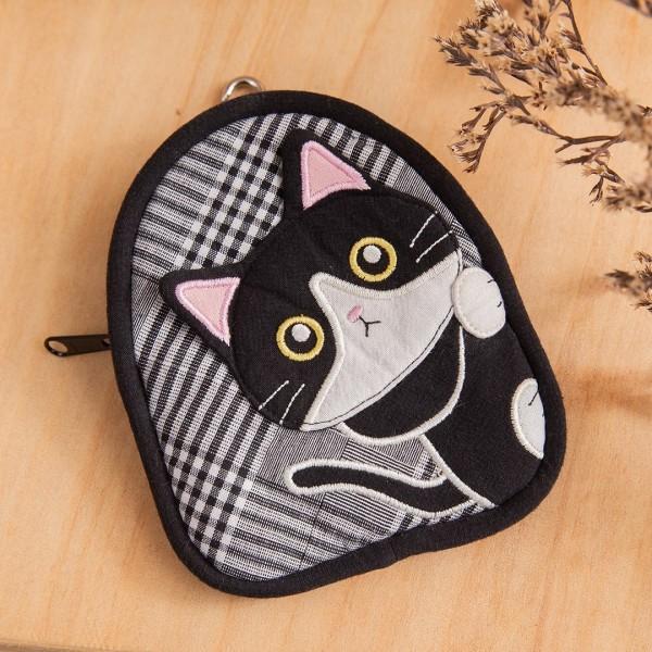 賓士貓 鋪棉 拉鍊 零錢包/鑰匙收納包/吊飾【820141】
