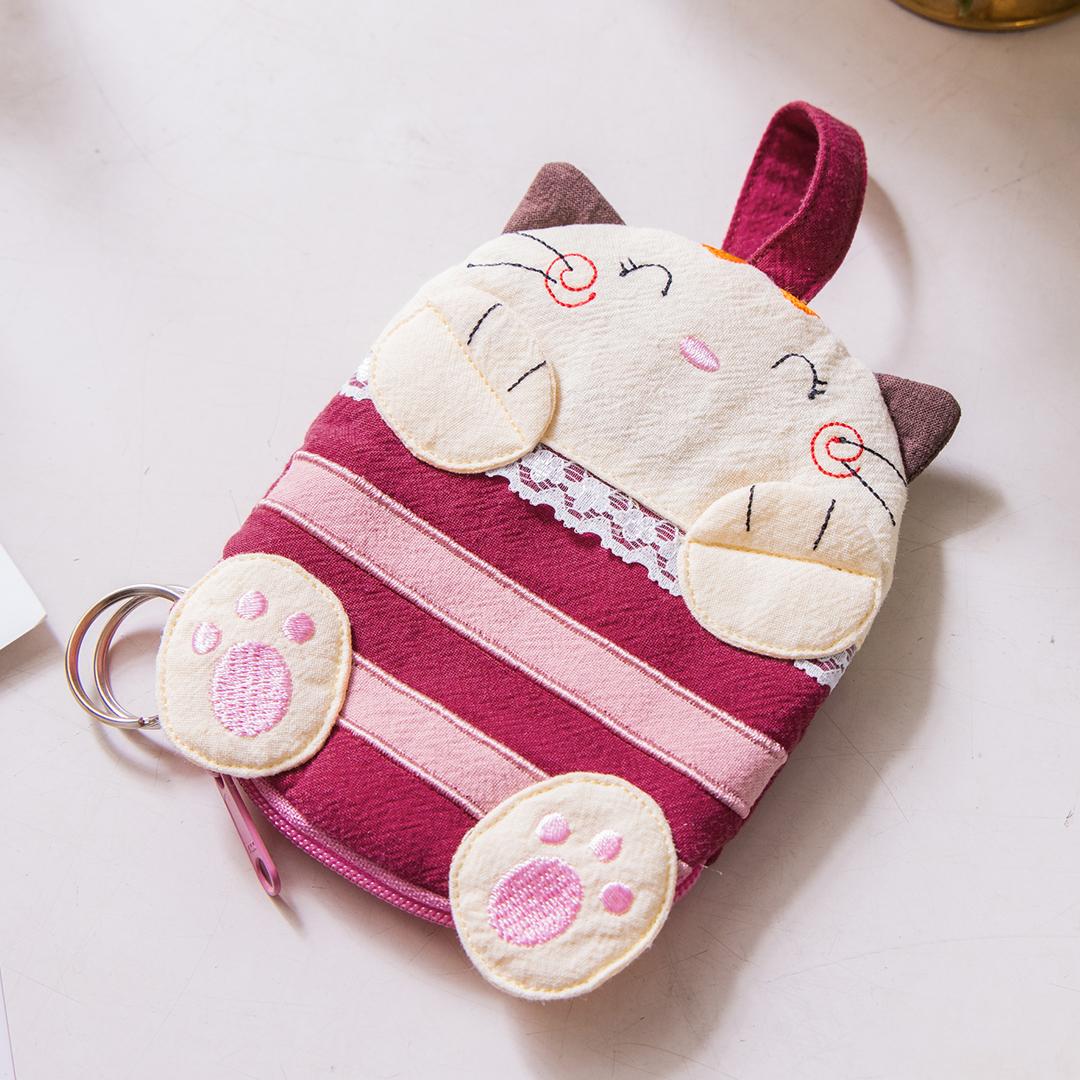 貓妹妹 鋪棉 拉鍊零錢包/鑰匙收納包【221126】