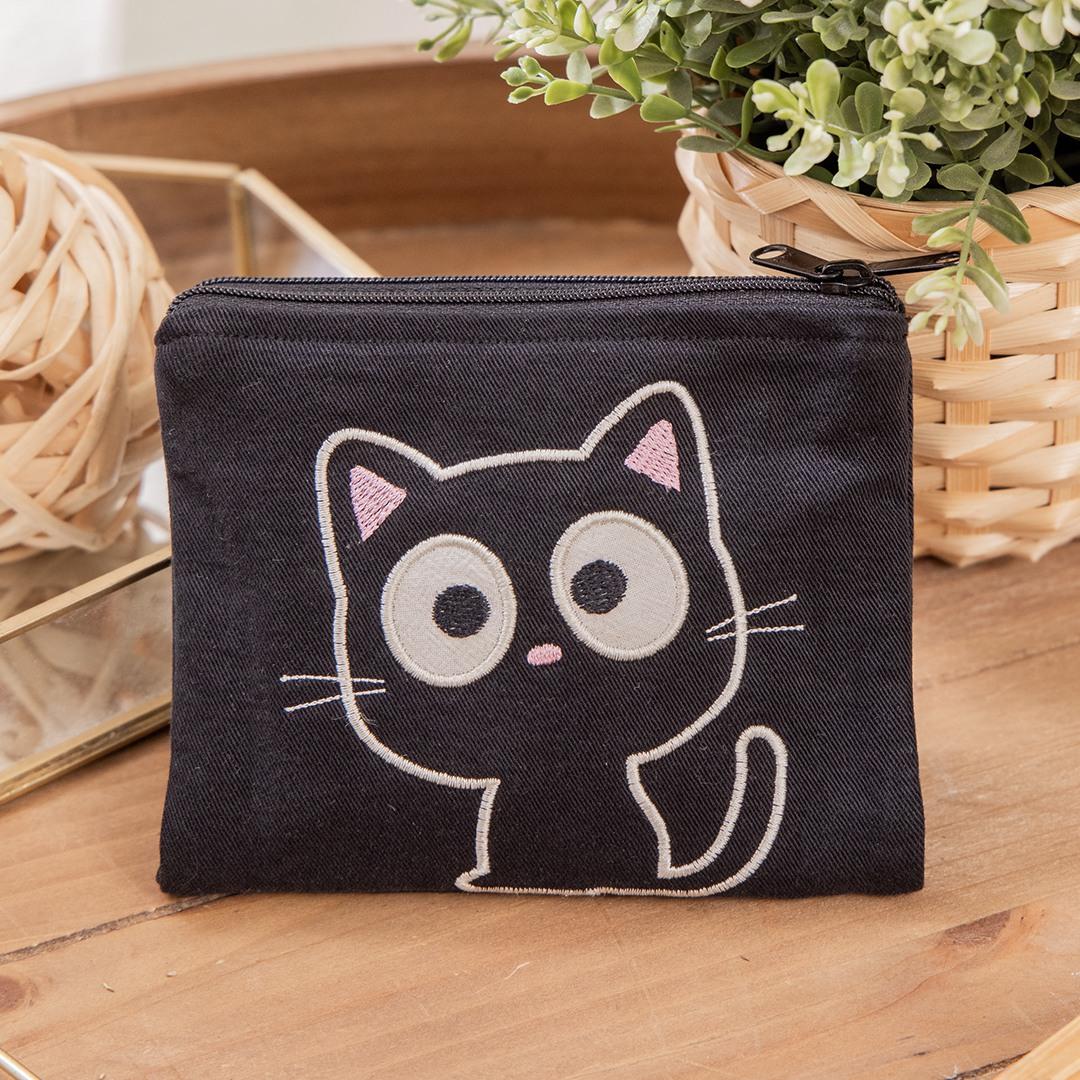 小黑貓 雙層 零錢包/面紙/衛生棉/口罩收納包【820168019】