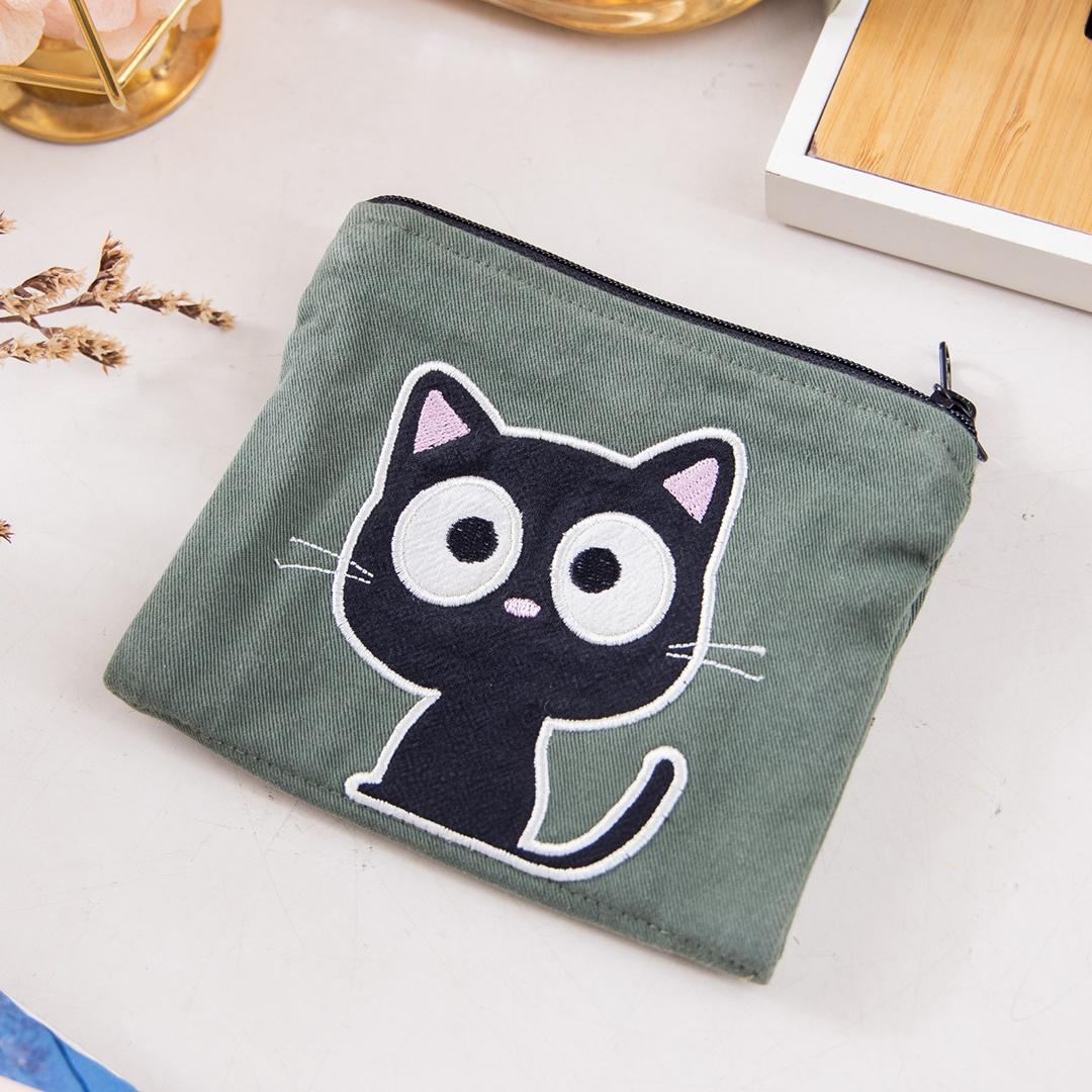 小黑貓 雙層 零錢包/面紙/衛生棉/口罩收納包【820168038】