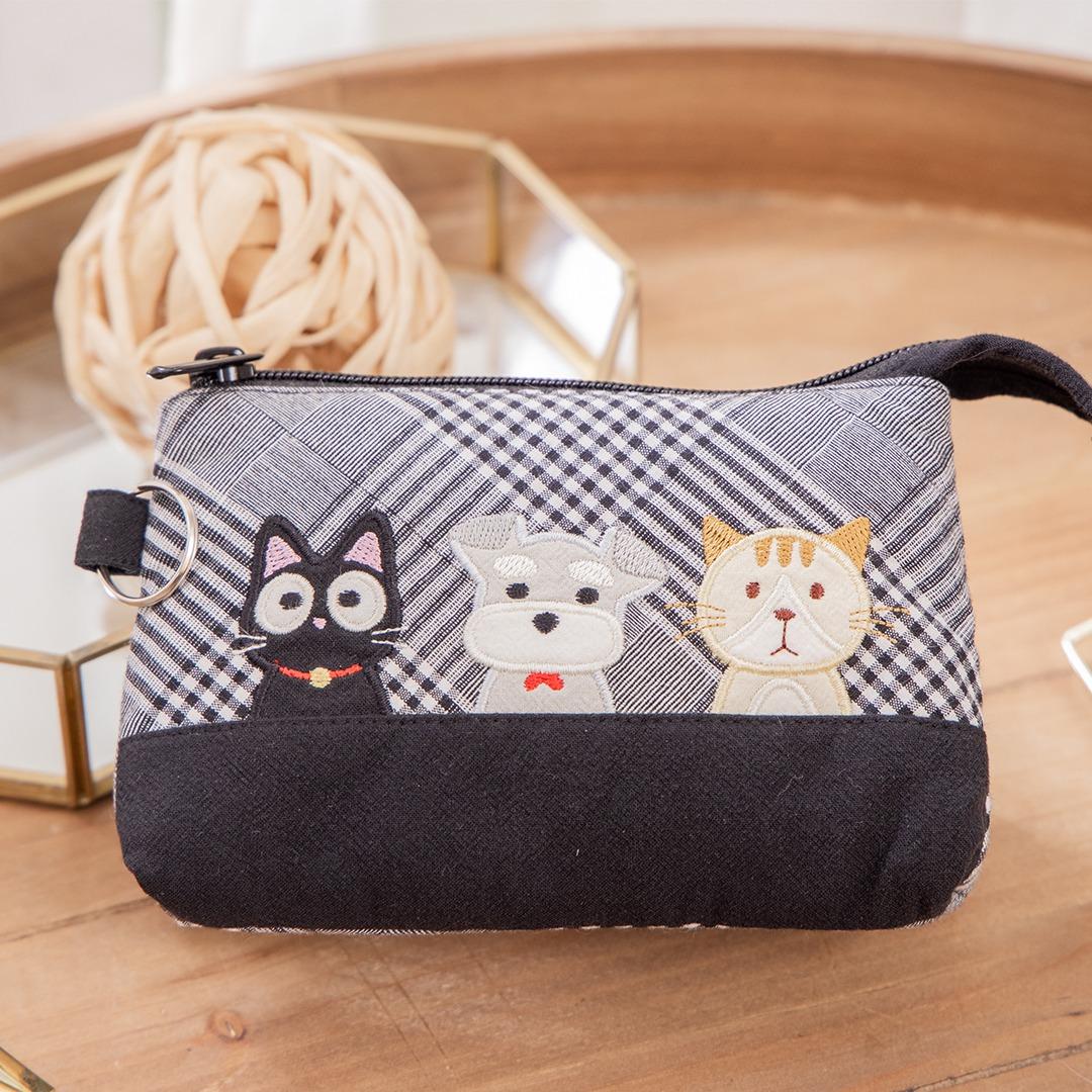 小黑貓與雪納瑞 三層 化妝包/小物收納包【820173】