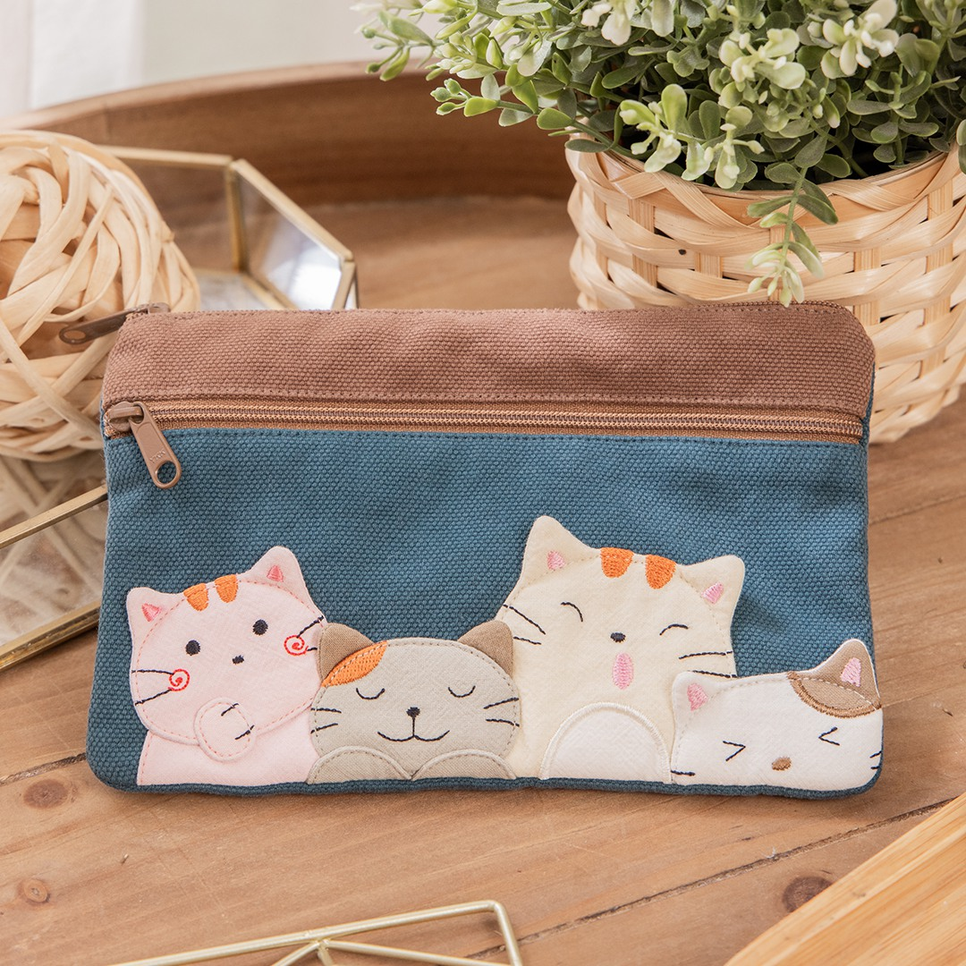 貓朋友 雙層 拉鍊 零錢包/存摺護照包/小物收納包【820174】