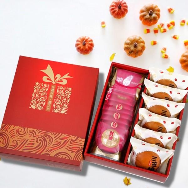 【歡喜好禮】圓片牛軋糖錦囊袋+三笠燒 (6入)