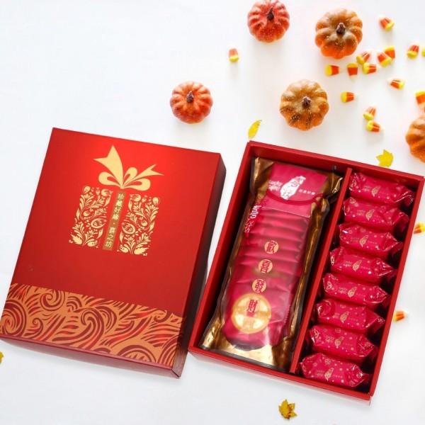 【歡喜好禮】圓片牛軋糖錦囊袋+喜酥旺來鳳梨酥(8入)禮盒