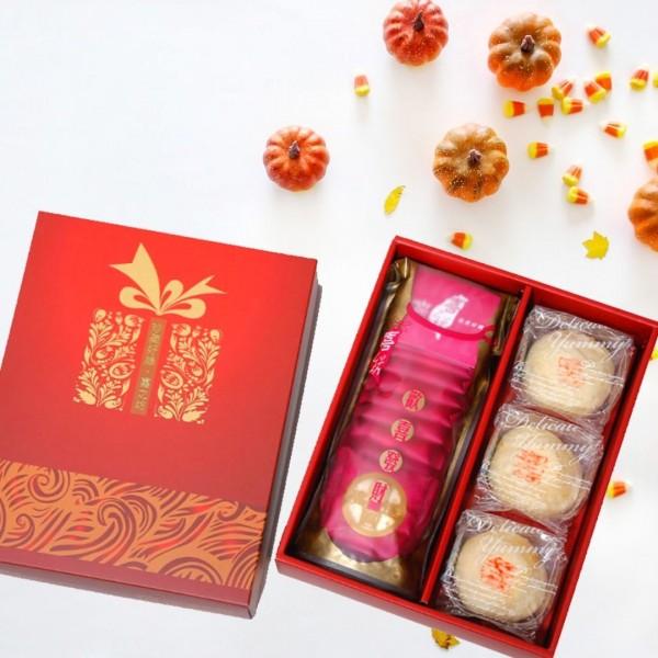 【歡喜好禮】 圓片牛軋錦囊袋 +綠豆椪(3入)禮