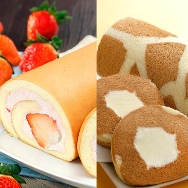 草莓鮮乳捲組合免運(草莓鮮乳捲+Latte奶凍捲)~季節限定的美味