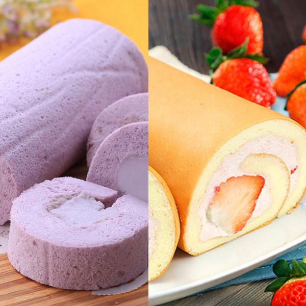 草莓鮮乳捲組合免運(草莓鮮乳捲+芋泥奶凍捲)~季節限定的美味