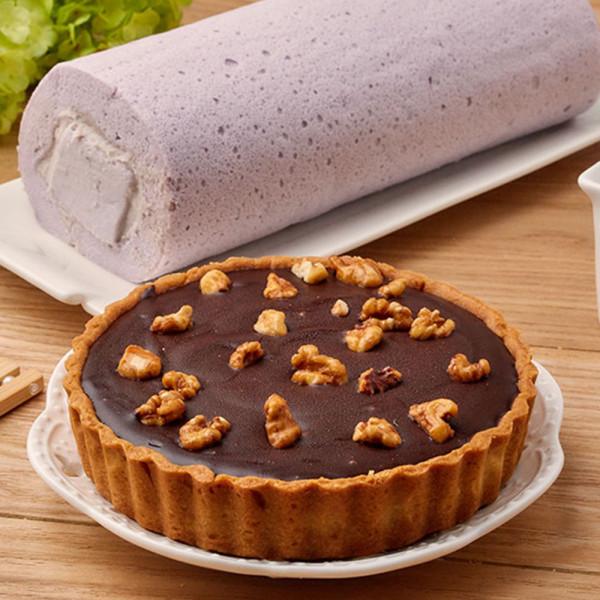 【超值優惠組】生巧克力塔5吋+ 芋泥奶凍捲1條