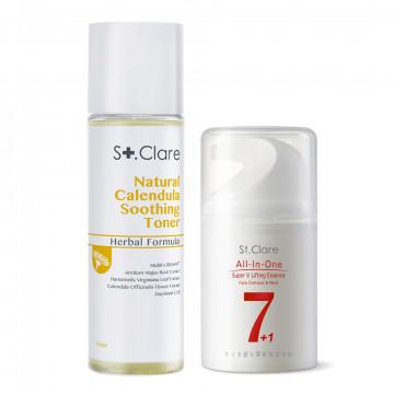 金盞花舒緩修護化妝水+Y18超V緊緻臉頸精華
