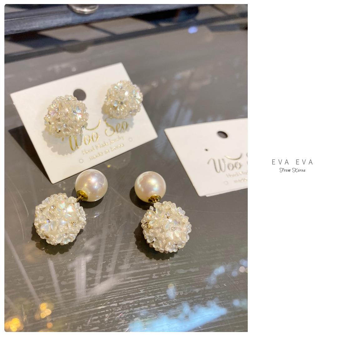 🎬銀針耳環-韓國WOO SEO家 貝殼環繞花球大力丸