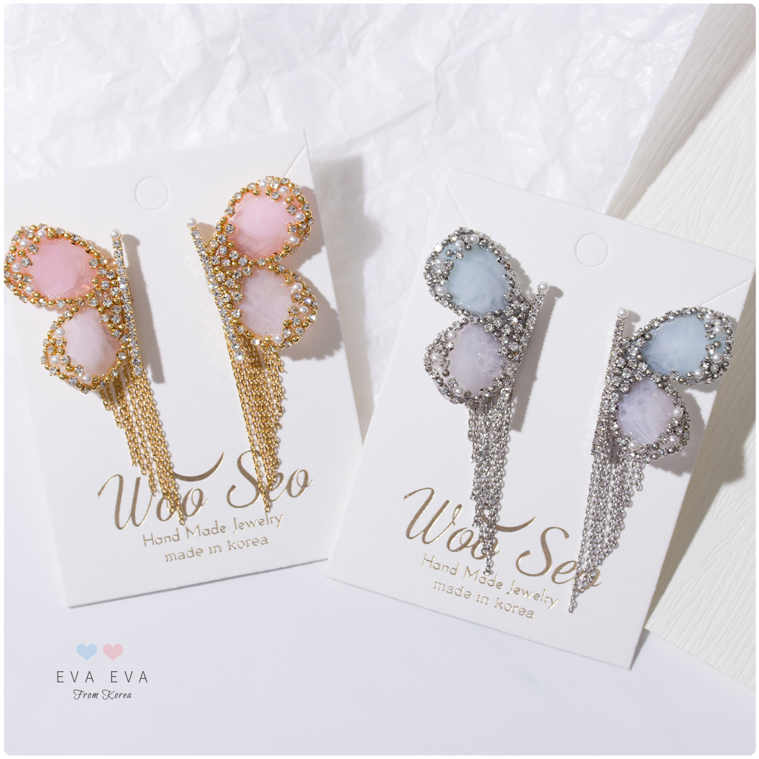 銀針耳環 - 韓國WOO SEO家 飛舞的蝴蝶 (2色)