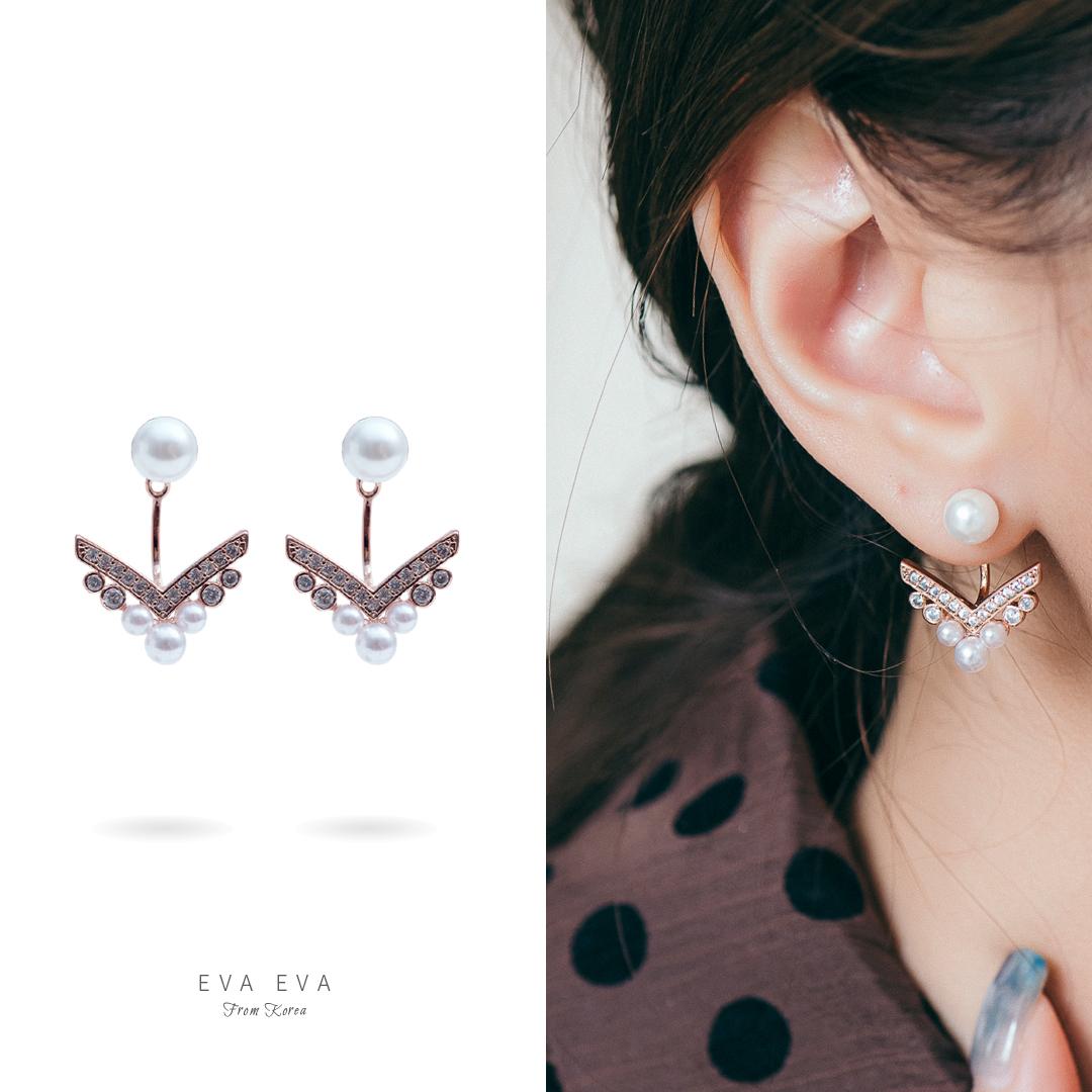 銀針耳環-玫瑰金 韓劇喬妹同款 珍珠後扣V形水鑽