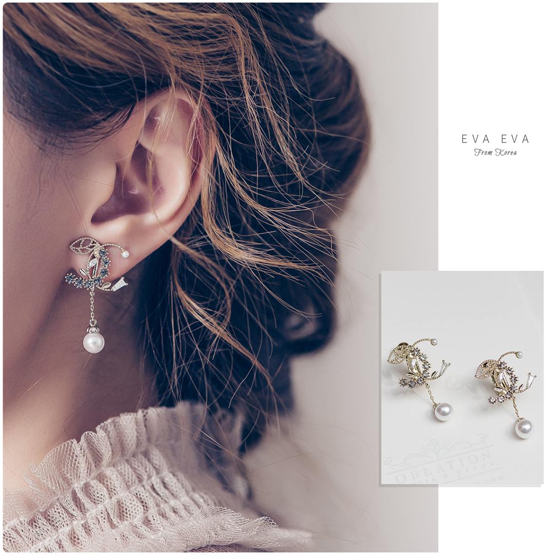 【夾式耳環】- 彎彎小葉垂墜珍珠