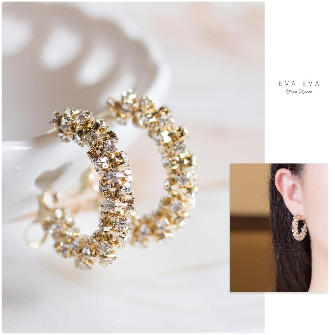 銀針耳環 - 自帶女神光 滿鑽迷你圈