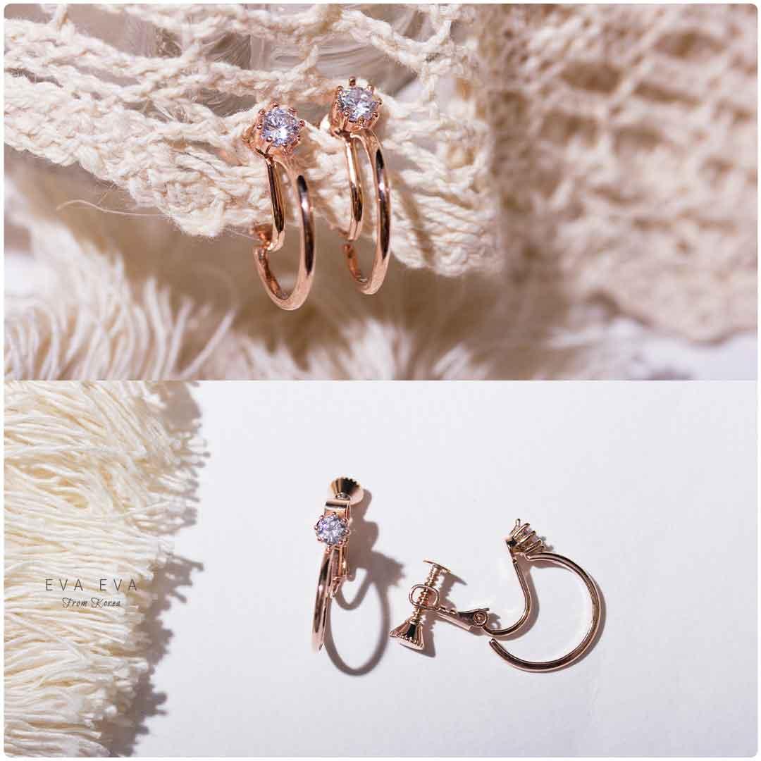 【夾式耳環】- 韓劇 多景同款 玫瑰金 簡約小圈
