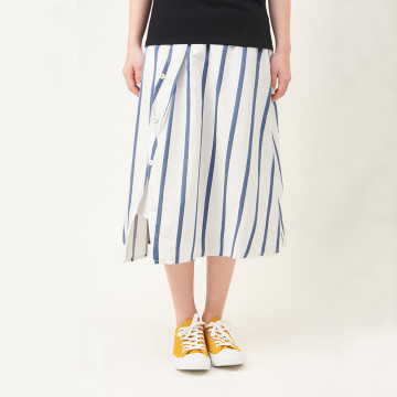 a la sha  斜釦剪接條紋兩件式中長裙