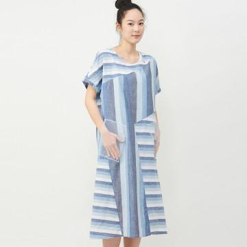 a la sha 不對稱拼接條紋短袖洋裝
