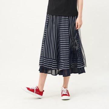 a la sha 條紋拼接網紗雪紡寬褲裙
