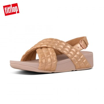 FitFlop LULU PADDED SHIMMY SUEDE BACK-STRAP SANDALS (玫瑰金)